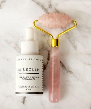 Rose Quartz Roller + Skinsculpt Pure Facial Oil
